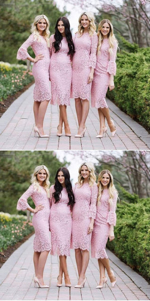 Elegant Knee-length Full Pink lace Long Sleeves Short Fitted Bridesmaid Dresses, BD0503