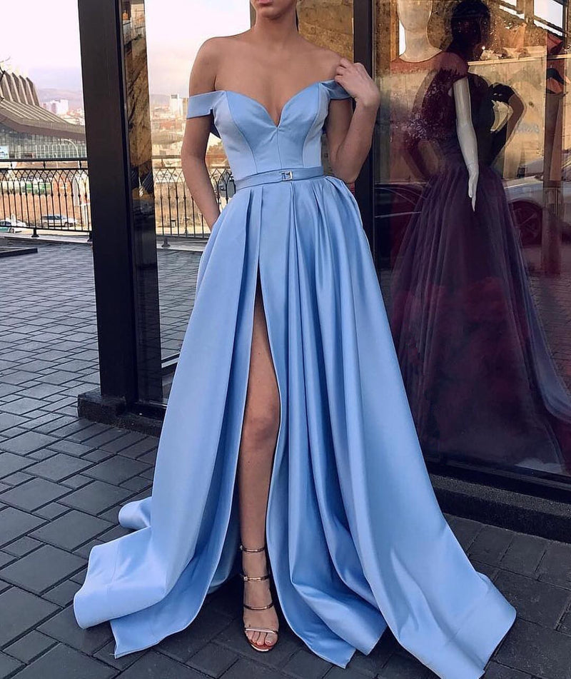 Off-shoulder Light Blue High Split Cheap Long Prom Dresses, PD0161