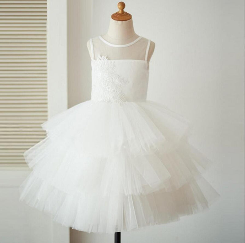 Lovely Ivory Tulle Lace Flower Girl Dresses, Ballet Dresses, Little Girl Dresses, FG072