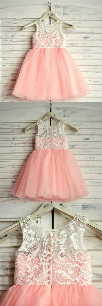 Pink Top Lace Sleeveless Lovely Short Soft Flower Girl Dresses, Junior Bridesmaid Dresses, FG086