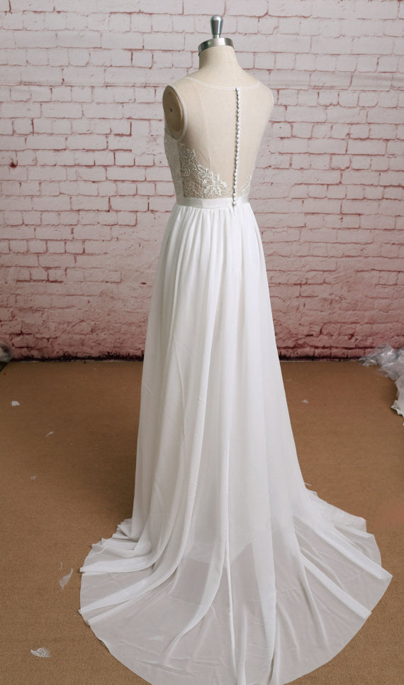 Fitted lace top wedding dress, A line wedding dress, Simple Sleeveless Wedding Dress, WD0319