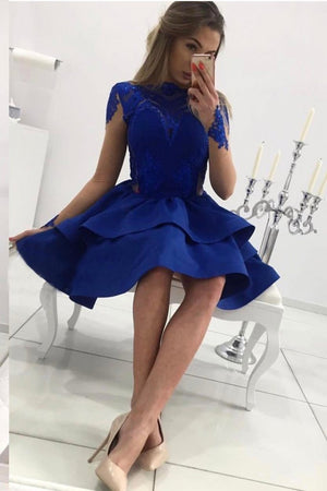 New Arrival Long sleeves Blue Lace Appliques Short Homecoming dresses, HD0370
