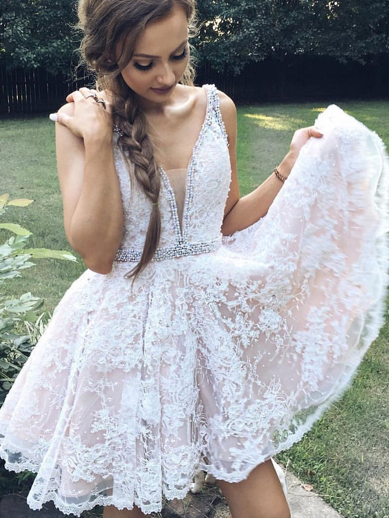 Charming lace v-neck Sexy Short Prom Dresses, white A-line homecoming dress, HD0339
