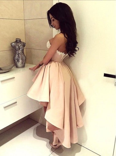 A-Line Sweetheart Appliques High Low Pink Stretch Satin Homecoming Dresses, HD0397