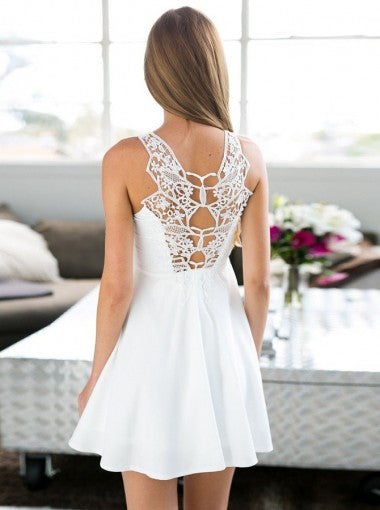 White Sleeveless Sweetheart Cute Short Backless Homecoming Dresses, HD0398