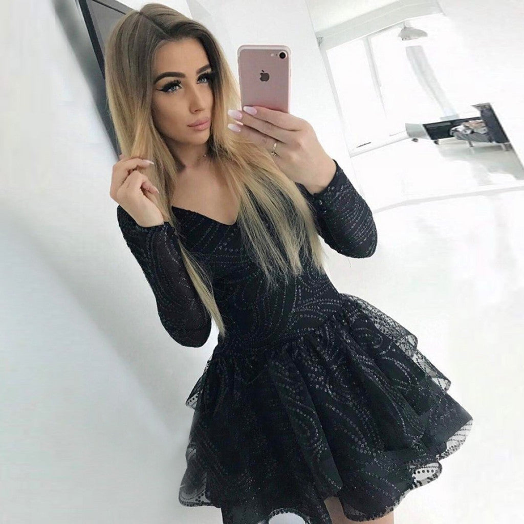 Charming  Sexy V-neck Long Sleeves Black Party Dress, Mini Homecoming Dresses, HD0357