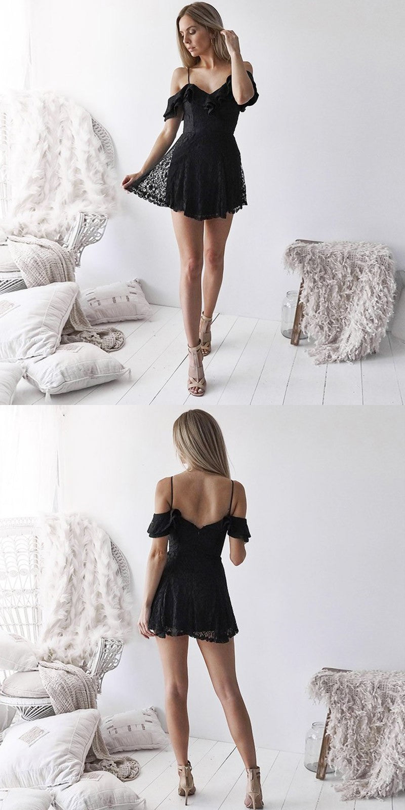A-Line Black Fulle Lace Backless Short Homecoming Dresses, HD0499