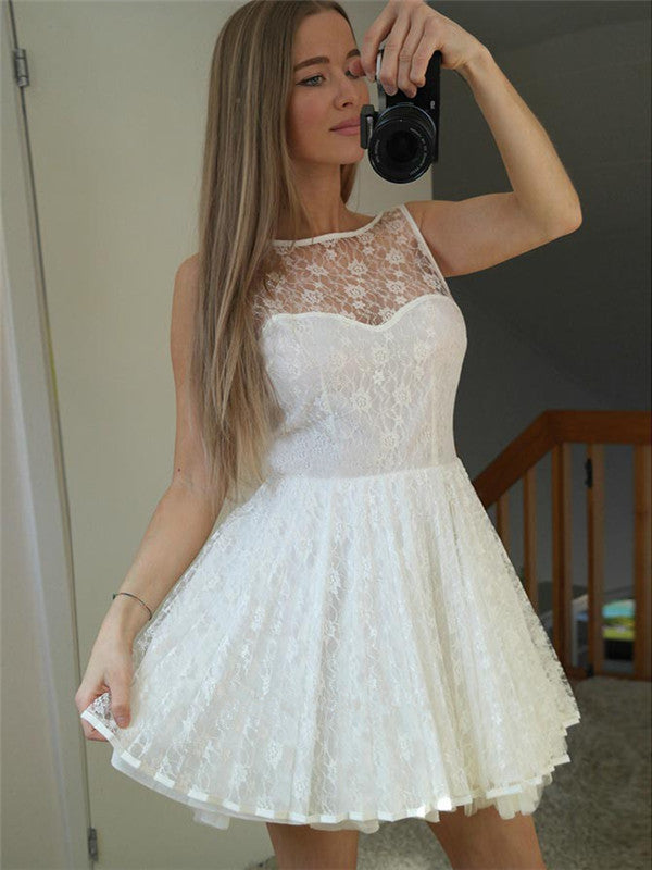 Halter Full Lace Sleeveless V-back Cute Short Homecoming Dresses, HD0525