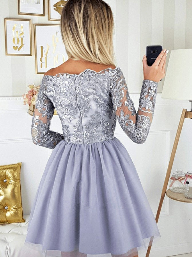Off-shoulder Lace Appliques Top Long Sleeves Tulle Homecoming Dresses, HD0526