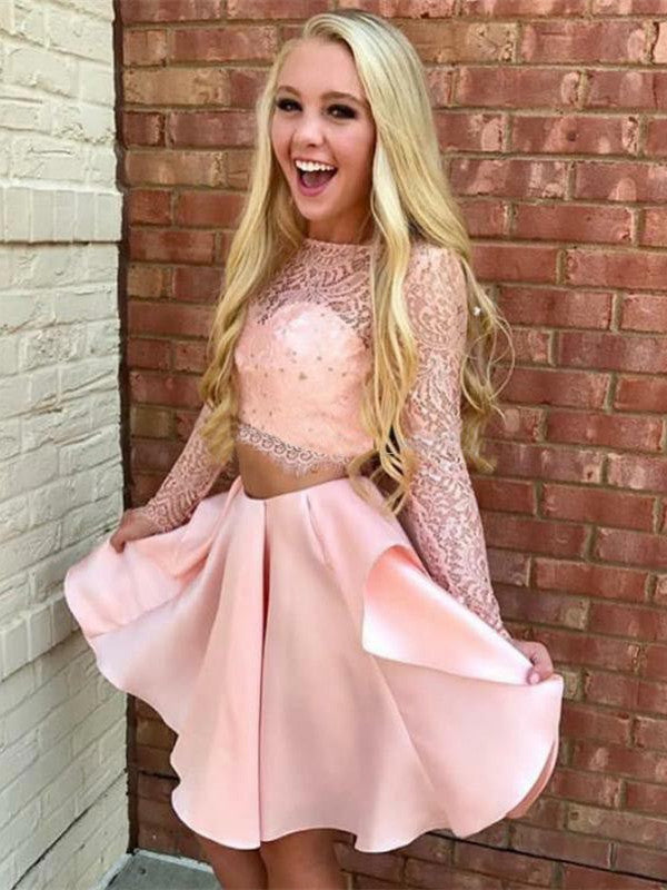 Two-pieces Long Sleeves Pink Lace Short Satin Homecoming Dresses, HD0496