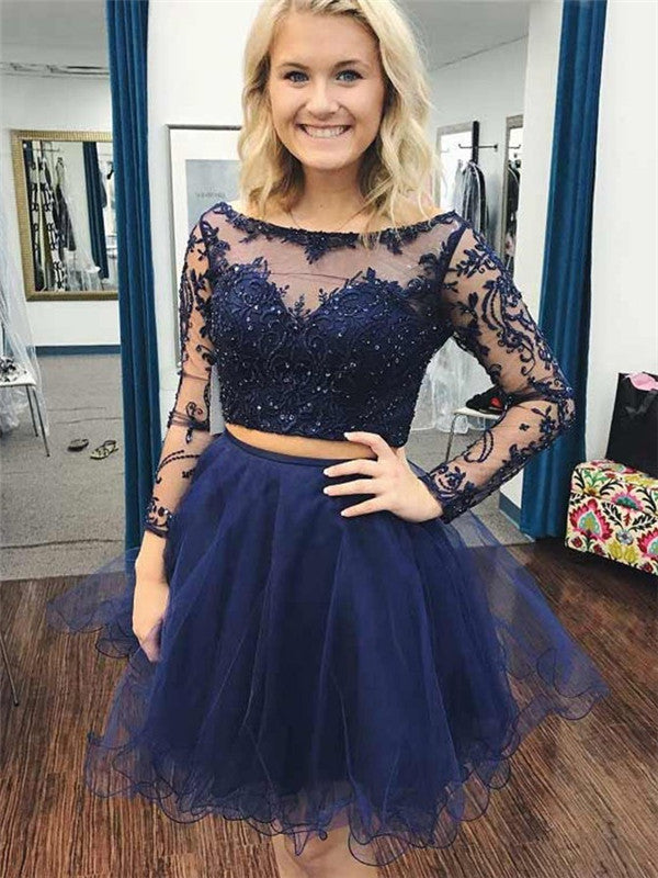 Two-pieces Long Sleeves Appliques Beading Homecoming Dresses, HD0517