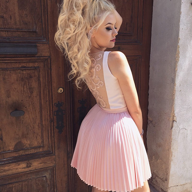 Newest V-Neck Pink Pleats Appliques Back Short Homecoming Dresses, HD0431