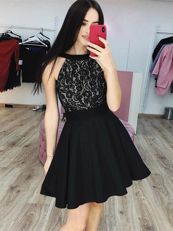 Newest Halter Lace Top Open-back Black Short Homecoming Dresses, HD0522