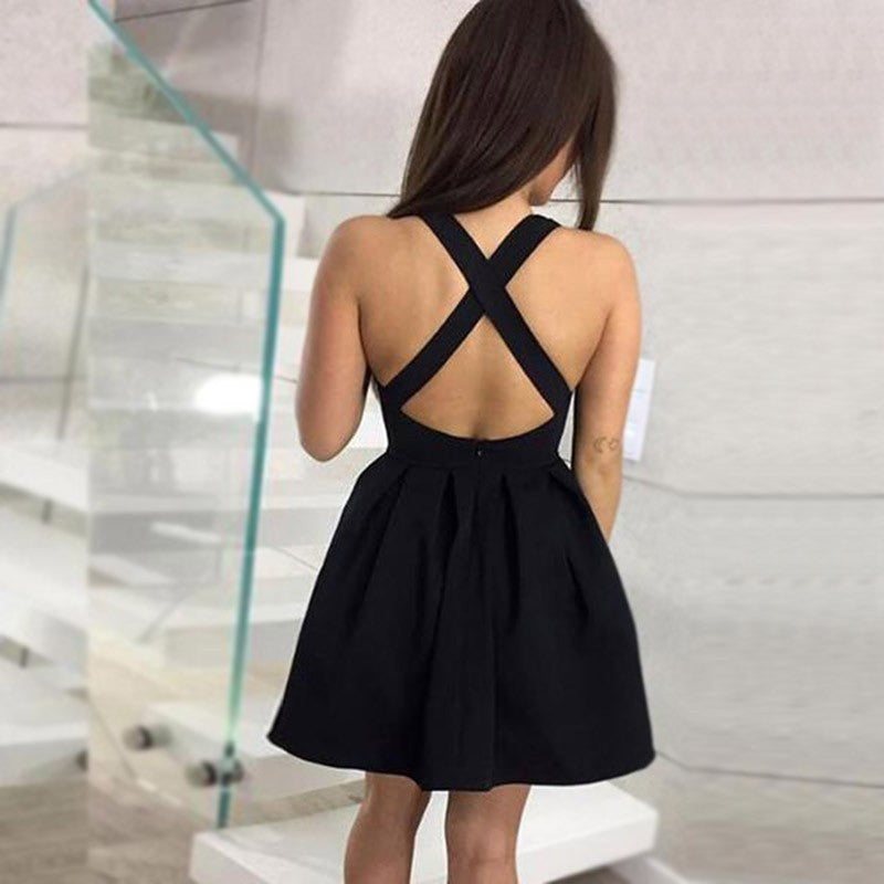 A-Line V-neck Black Satin Backless Short Homecoming Dresses, HD0501