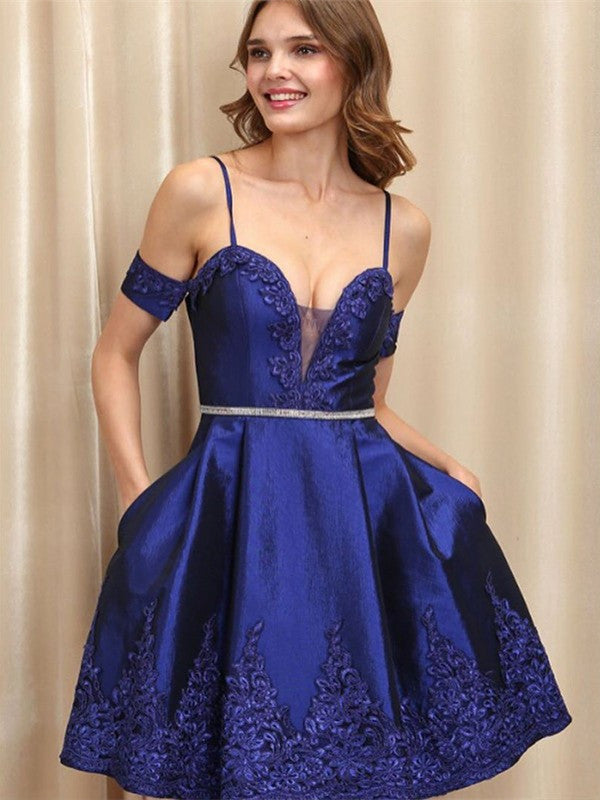 A-Line Spaghetti Straps Royal Blue Appliques Homecoming Dresses, HD0494