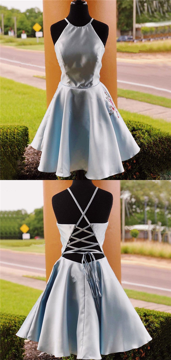 Halter Sleeveless Simple Embroidery Lace-up Back Homecoming Dresses, HD0534