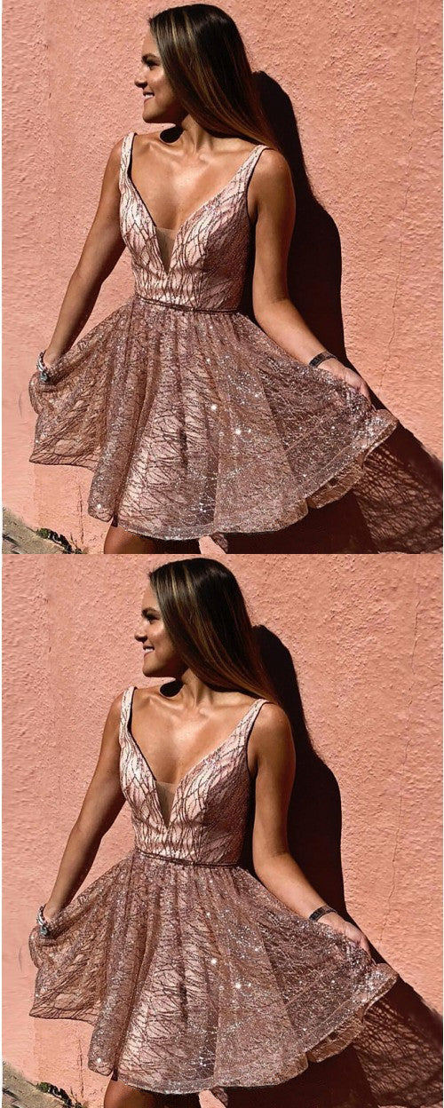 Newest Sparkly A-line Deep V-neck Short Homecoming Dresses, HD0523