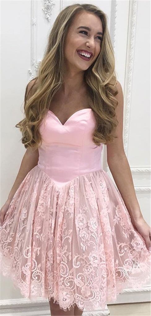 Newest Sweetheart Strapless Lace Short Pink Homecoming Dresses, HD0529