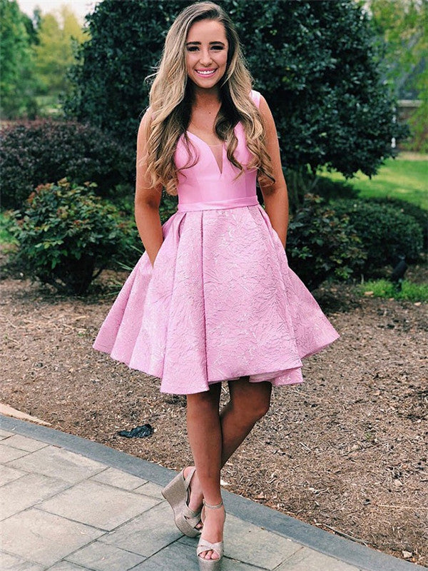 A-line V-neck Short Pleats Pink Homecoming Dresses With Pocket, HD0531