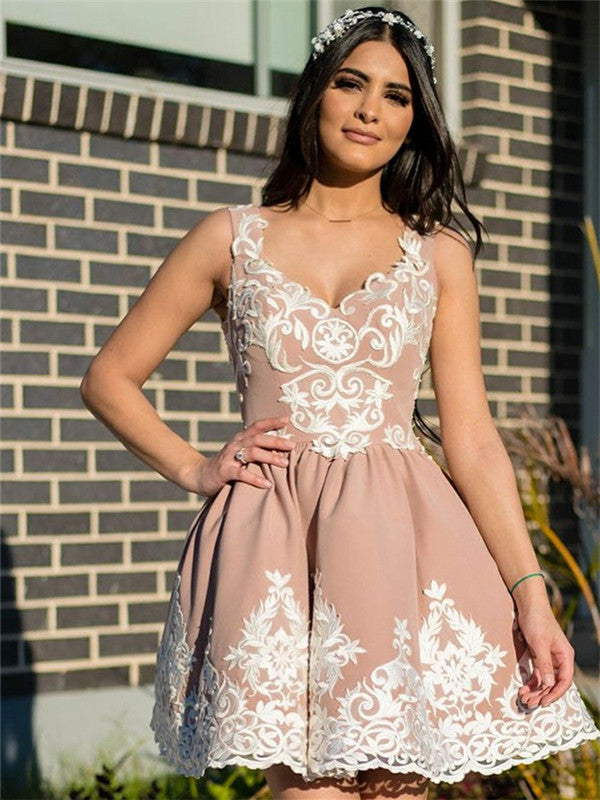 A-Line V-neck Appliques Cheap Short Homecoming Dresses, HD0503