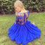 Amazing V-neck Long sleeves Blue Lace Chiffon Short Homecoming dresses, HD0371