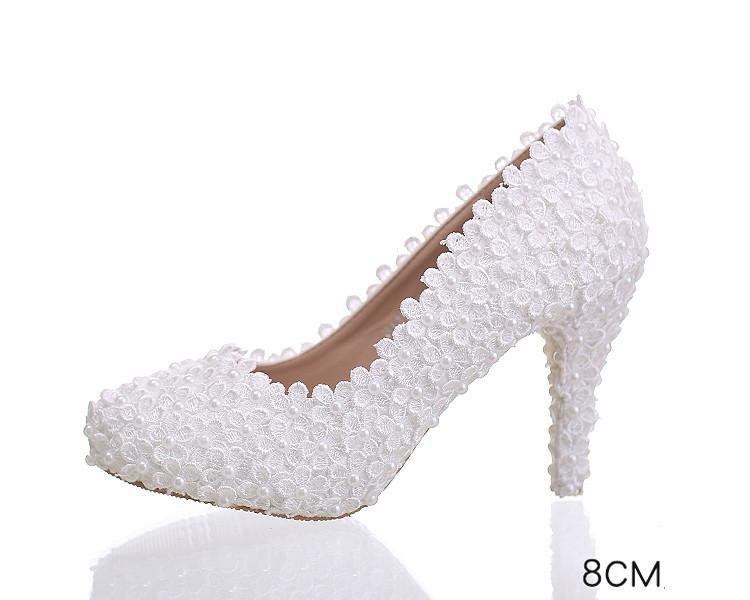 Lace Pointed Toe White High Heels Wedding Bridal Shoes, S016