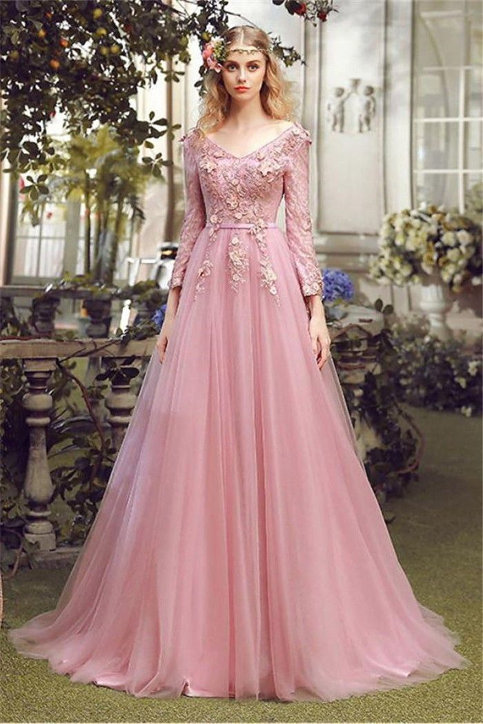 8eb8764f49e Floor-length A-line V-neck long sleeve evening dress