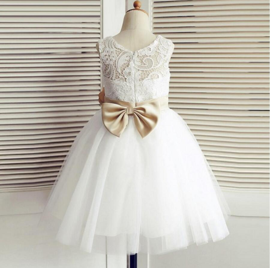 Lace Top Tulle Flower Girl Dresses, Popular Zip Up Knot Bow Little Girl Dresses , FG077