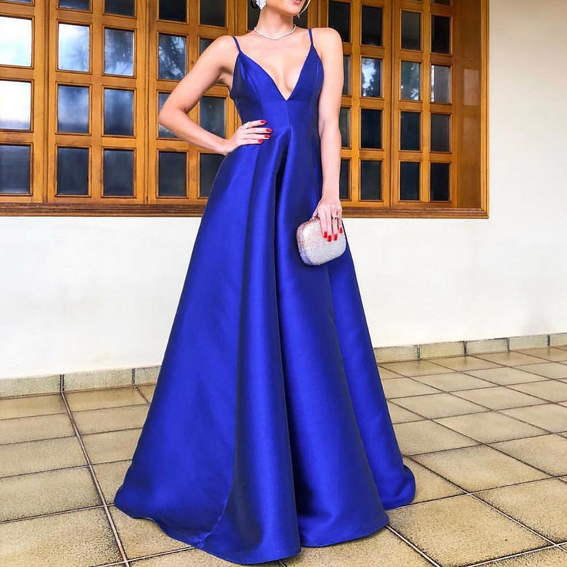 Floor-length Spaghetti Straps V-neck Backless Royal Blue Long Prom Dresses, PD0146