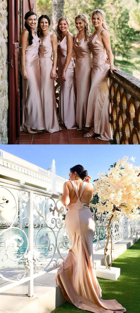 Sheath Simple Cheap Long Backless Bridesmaid Dresses With Train, BD0600
