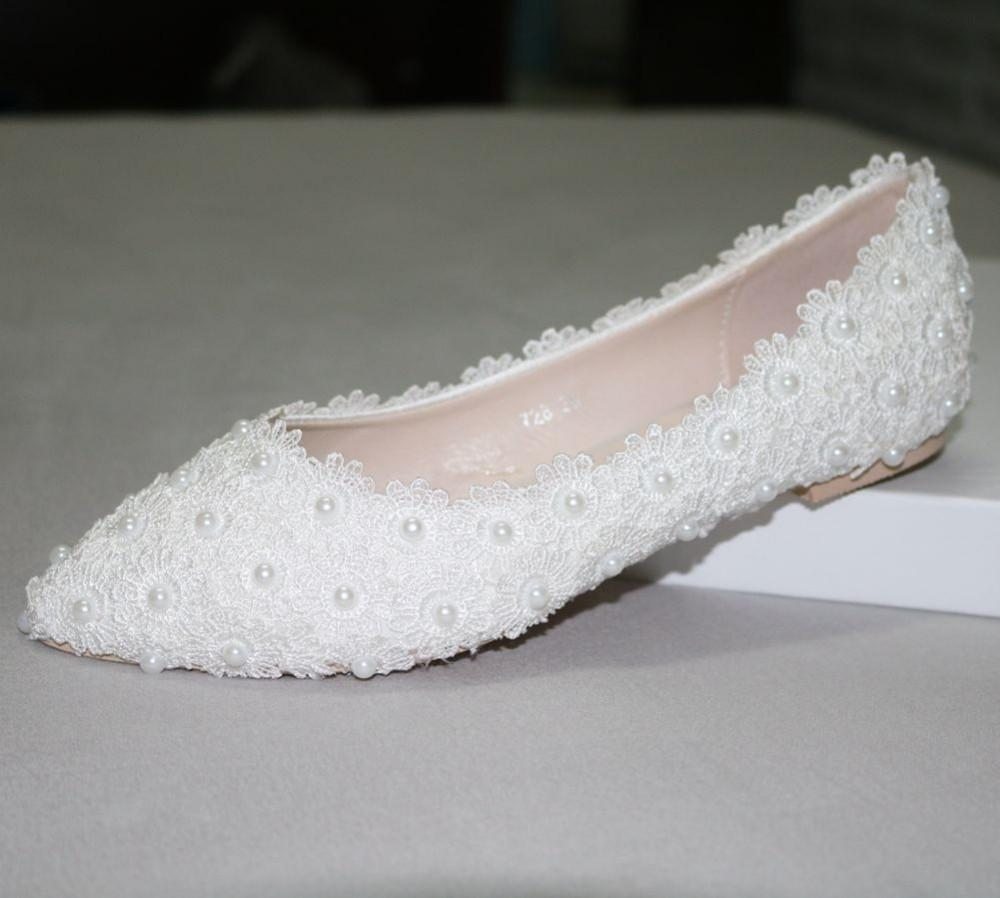 Pregnant Flat Heels Pearls Lace Pointed Toe White Wedding Bridal Shoes, S017