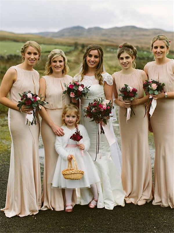 Sheath Blush Sleeveless Long Chiffon Bridesmaid Dresses, BD0598