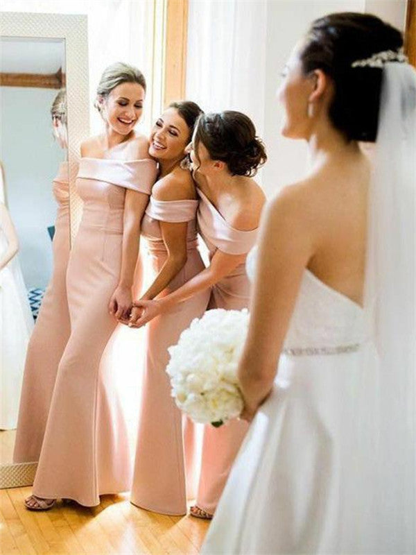 Mermaid Off-shoulder Floor-length Long Satin Bridesmaid Dresses, BD0594