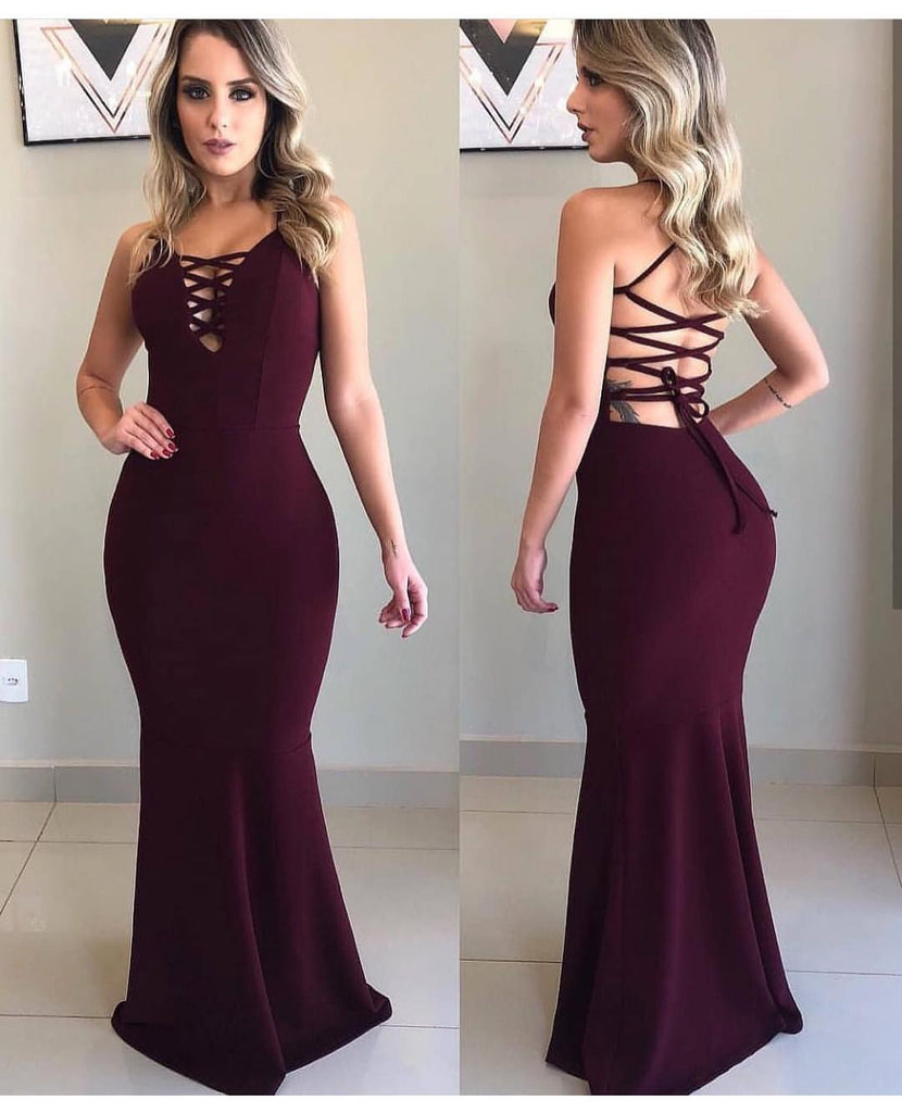 Mermaid Floor-length V-neck  Sexy Lace Up Back Long Prom Dresses, PD0144