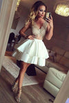 Charming Sexy V-neck Lace Sleeveless Zipper Back Mini Homecoming dresses, HD0373