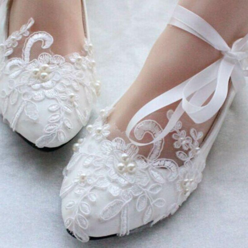 Lace Pearls Women Wedding Shoes With Ribbons Lace Up Ladies Party/Dress Shoes Pointed Toes