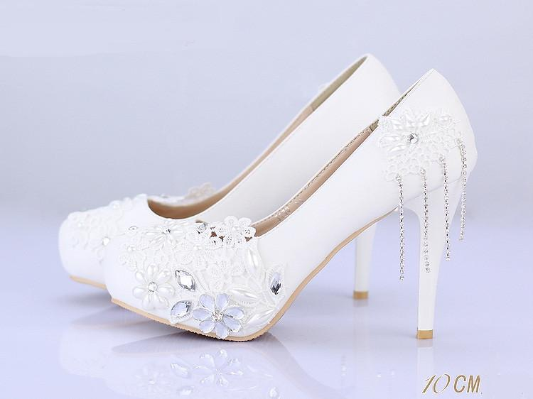 Lace Women Wedding Bridal Shoes With Pointed Toes, S019