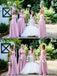 A-line chiffon V-neck Lace One-shoulder Mismatched Long Bridesmaid Dress , BD0500