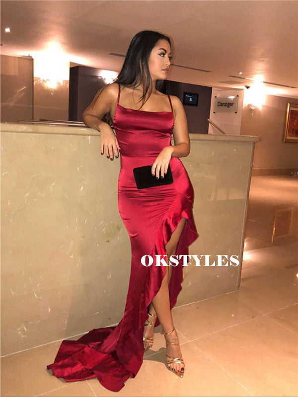 Sheath Spaghetti Straps Red Satin Split Prom Dresses With Ruffles, PD0610