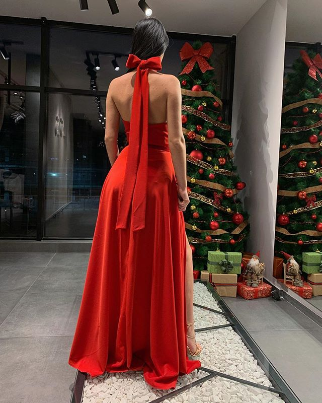 Halter Sleeveless Long Red Split Prom Dresses With Bow, PD0595