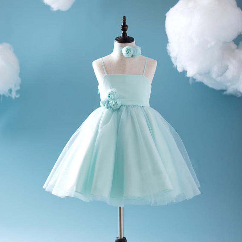 Cute Tiffany Blue Spaghetti Tulle Satin Flower Girl Dresses, Cheap Popular Little Girl Dresses, FG050
