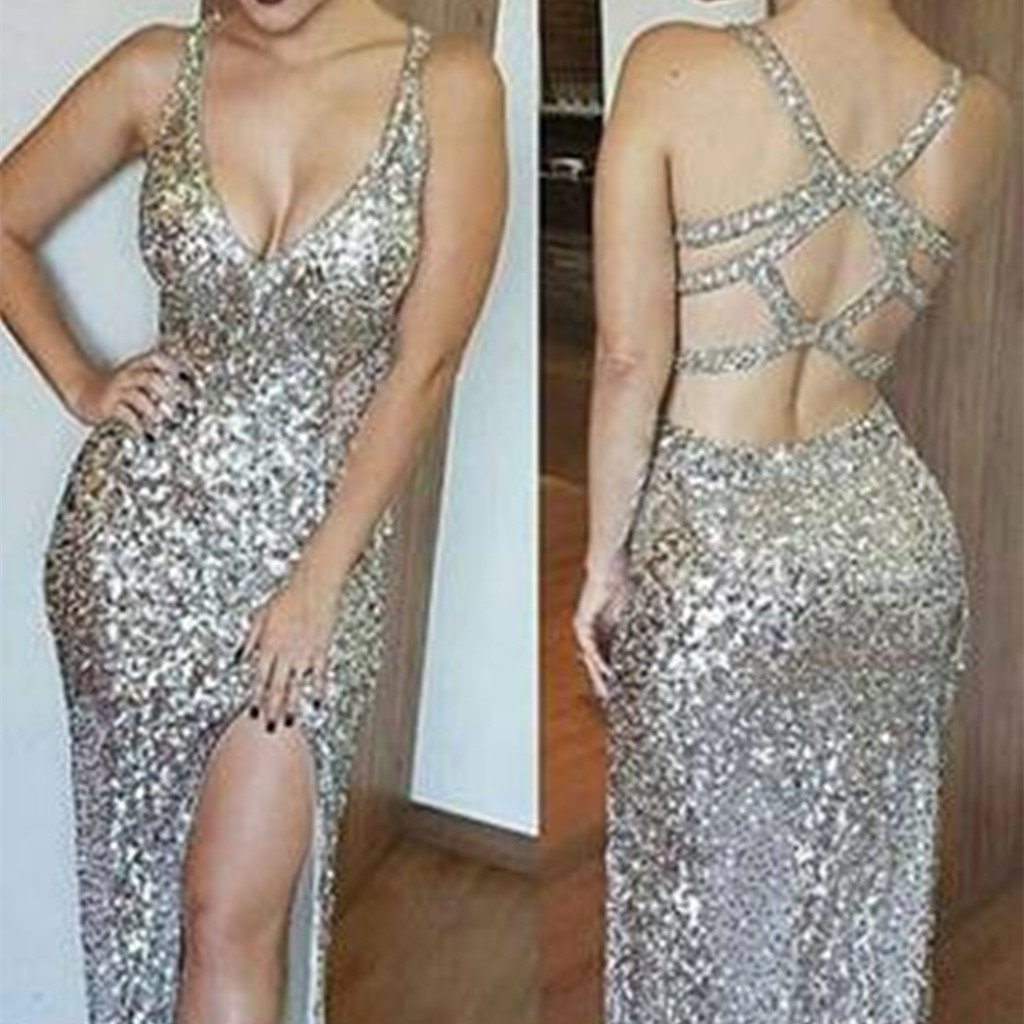 2018 Popular Luxurious Deep V-neck Sling Sexy Sequins, Lace up Sleeveless, Split ends Long Prom Dress, PD0410