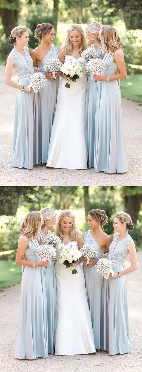 A-line Floor-length V-neck One-shoulder Simple Cheap Bridesmaid dresses, BD0517