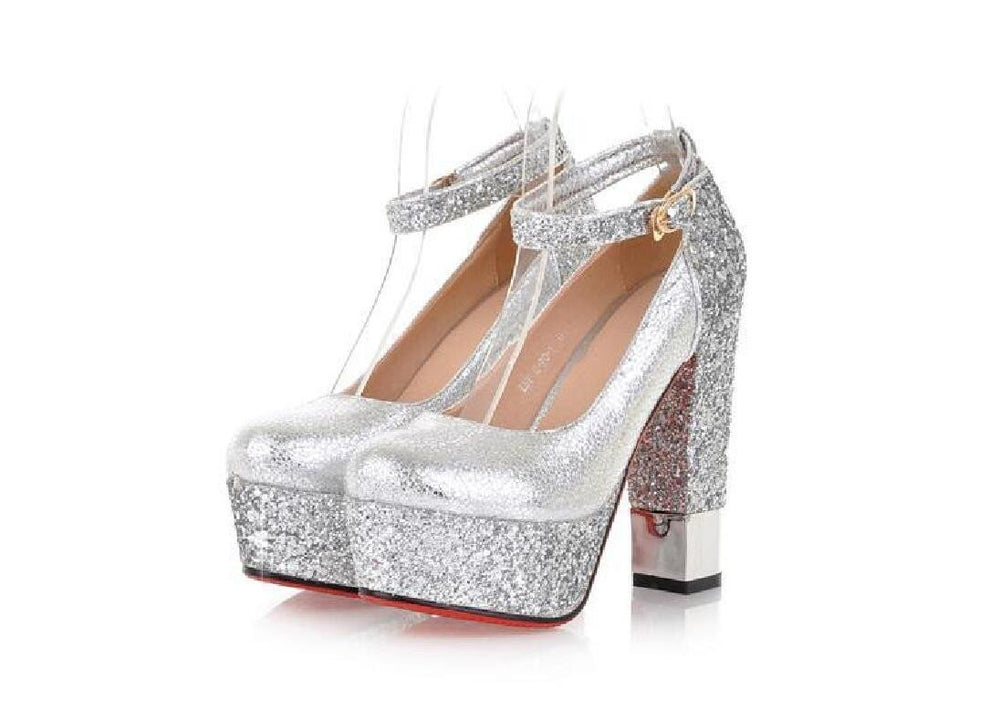 fe61a4e07b Fashion High Heels Round Pointed Toe Sequin Wedding Bridal Shoes, S035