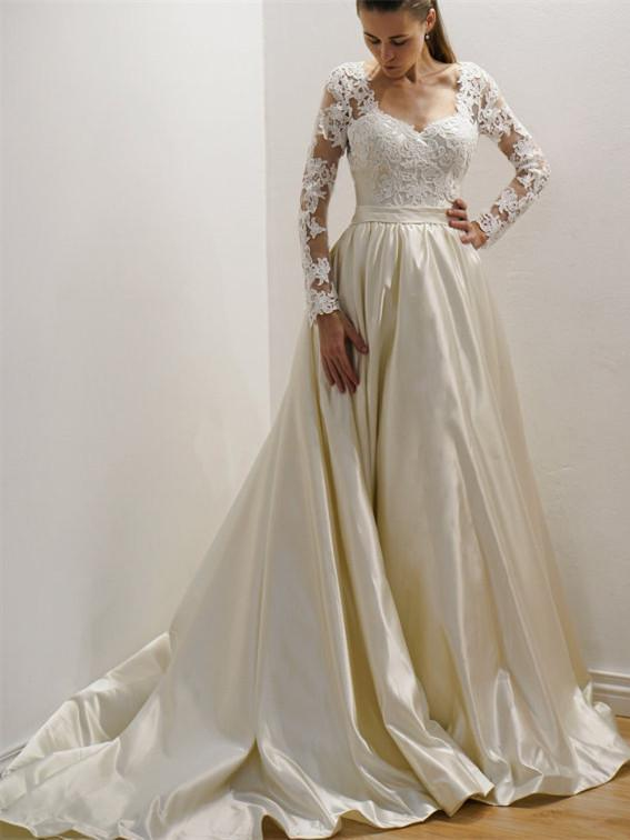 Gorgeous Long sleeves Lace Top Wedding Gown, Custom Made Long Wedding Dresses, WD0370