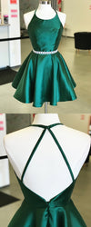 Newest Elegant A-line Round-neck Backless Cheap Green Homecoming dresses, HD0376