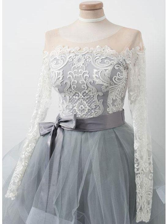 Elegant Lace Long Sleeves Organza Zipper Back Short Homecoming dresses, HD0377