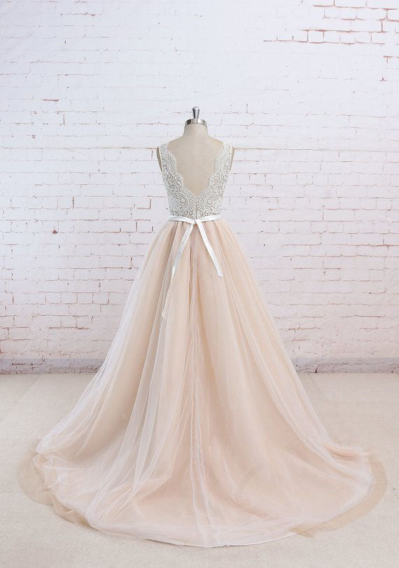 Long A-line Lace Top Wedding Dresses, Open Back Cheap Bridal Gown, WD0002