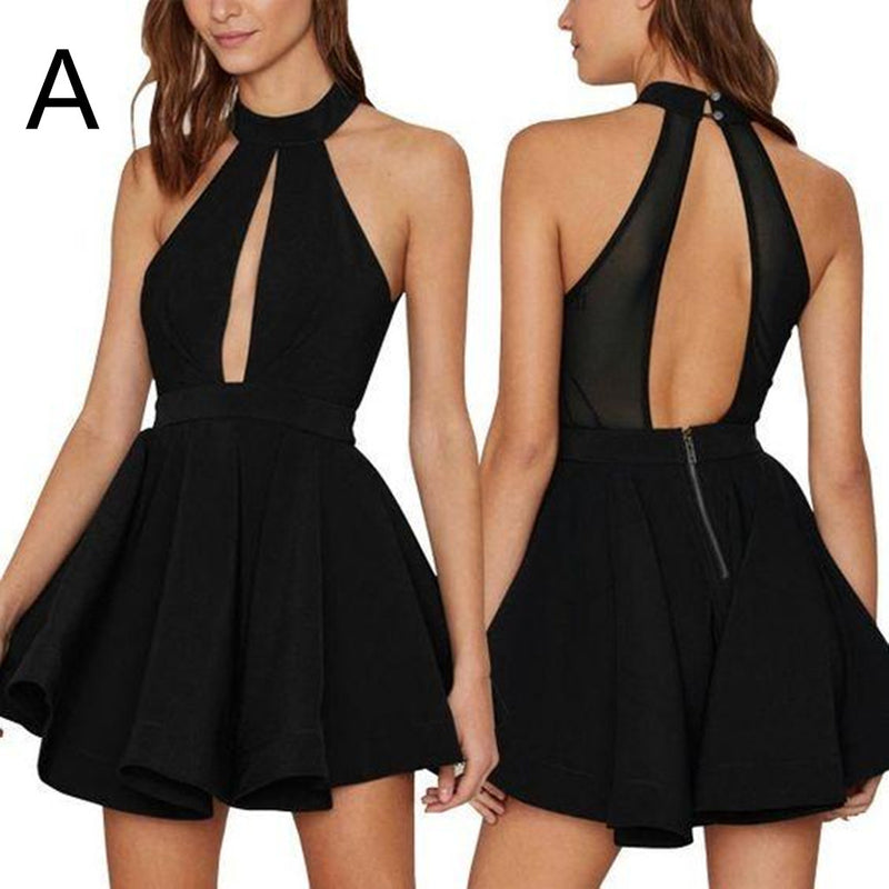 Newest Simple Halter Sexy Backless Short Sleeveless Homecoming dresses, HD0381