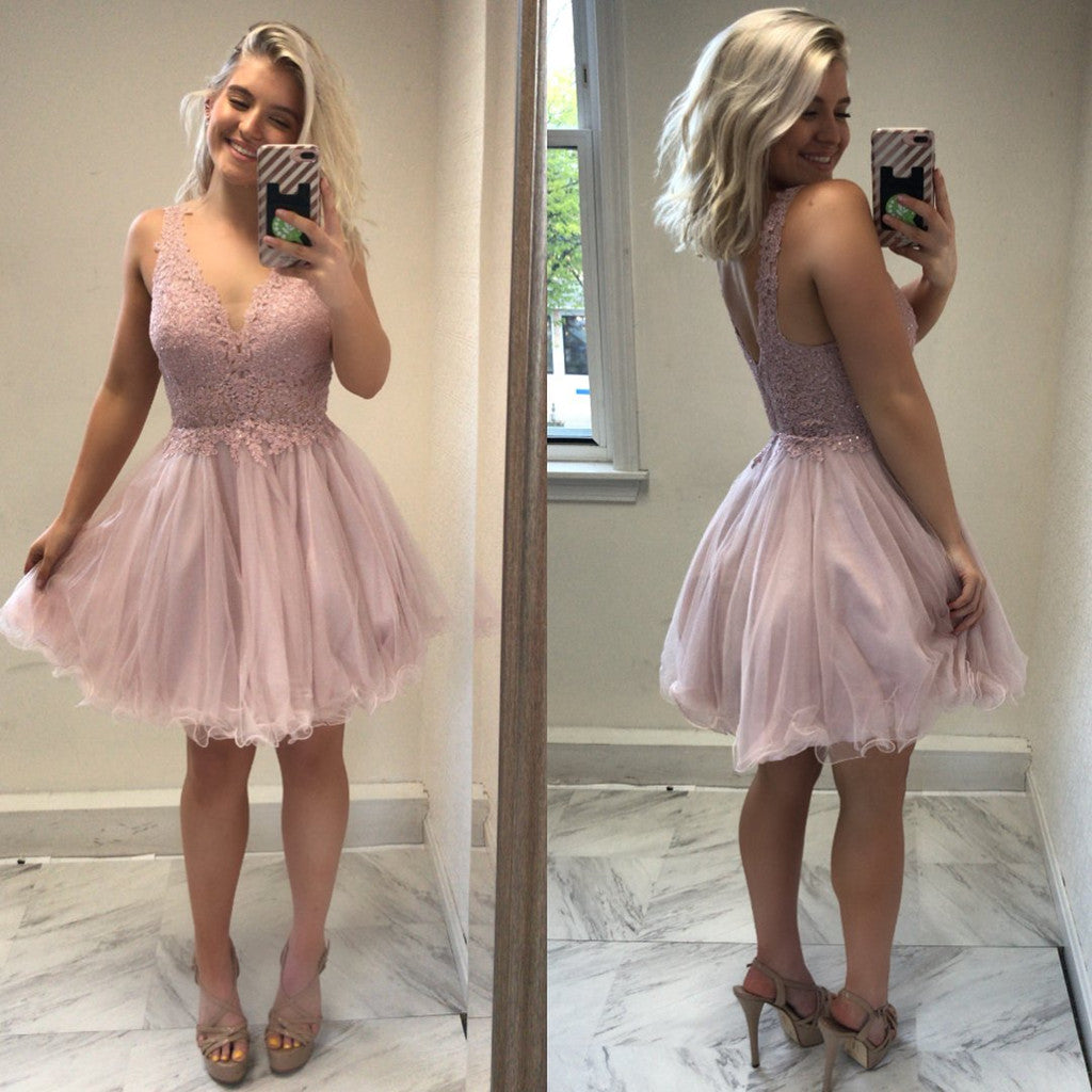 Amazing Lace Top Sleeveless V-neck Backless Tulle skirt Pink Homecoming dresses, HD0383